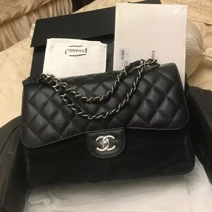 NEW CHANEL CLASSIC JUMBO DOUBLE FLAP BAG CAVIAR